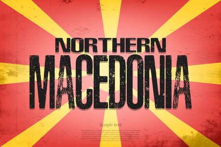 National flag of Northern Macedonia. Vintage background. Grunge texture. Banner design pattern. Vector illustration