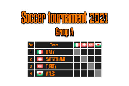 Soccer tournament 2021. Design pattern standings football championship group A. Countries flags. Vector illustration