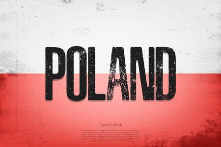 National flag of Poland. Vintage background. Grunge texture. Banner design pattern. Vector illustration 矢量图像