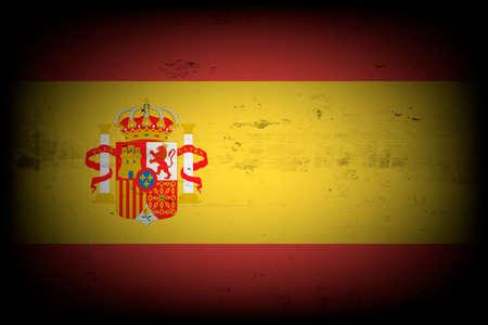 National flag of Spain. Vintage background. Grunge texture. Banner design pattern. Vector illustration
