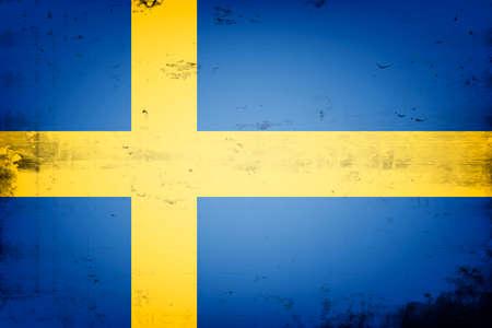 National flag of Sweden. Vintage background. Grunge texture. Banner design pattern. Vector illustration 矢量图像