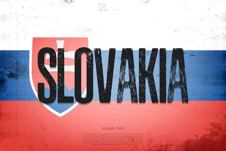 National flag of Slovakia. Vintage background. Grunge texture. Banner design pattern. Vector illustration