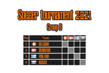 Soccer tournament 2021. Design pattern standings football championship group B. Countries flags. Vector illustration