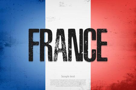 National flag of France. Vintage background. Grunge texture. Banner design pattern. Vector illustration 矢量图像