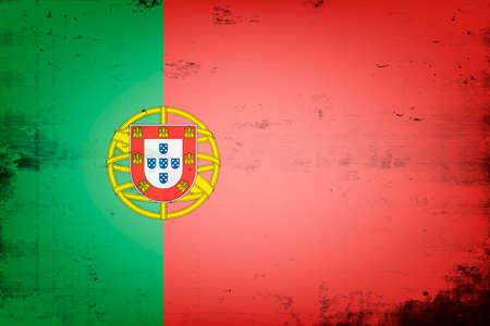 National flag of Portugal. Vintage background. Grunge texture. Banner design pattern. Vector illustration