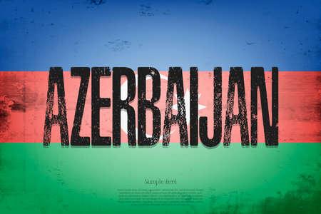 National flag of Azerbaijan. Vintage background. Grunge texture. Banner design pattern. Vector illustration