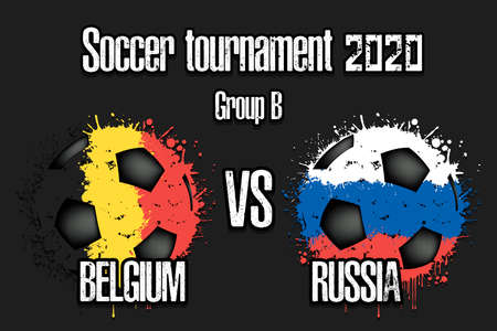 Soccer game Belgium vs Russia. Football tournament match 2020. Postponed to 2021. Grunge texture. Design pattern. Vector illustration