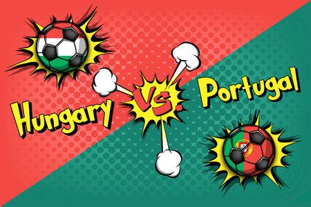 Soccer game Hungary vs Portugal. Football tournament match 2020. Postponed to 2021. Pop art style. Design pattern. Vector illustration