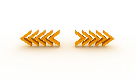 3D illustration of left and right arrows illustration