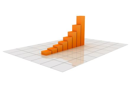 3D illustration of a chart going up