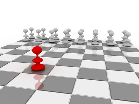 Close view of a chess board with pawns. One is the leader. Stock Photo
