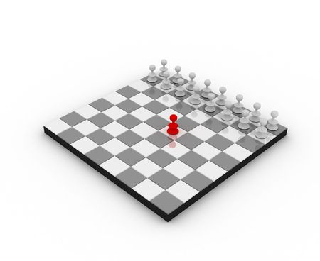 Chess board with pawns. One is the leader.