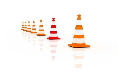 3d Ilustration of traffic cones. One is unique