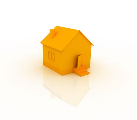 3d ilustration of an orange house with reflection.
