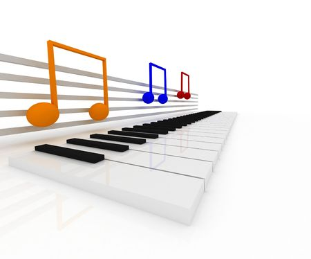 3d illustration of music notes Stock Photo