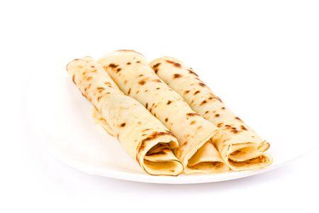 Pancakes on white background