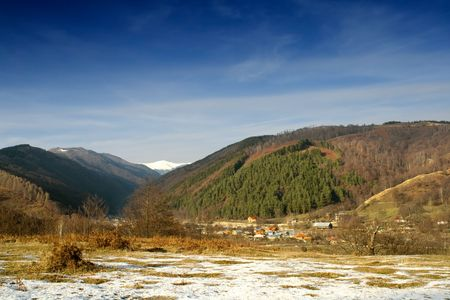 Photo of a mountain landscape from Horezu - Romania