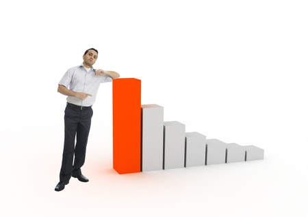 Young businessman showing chart Stock Photo - 8428892