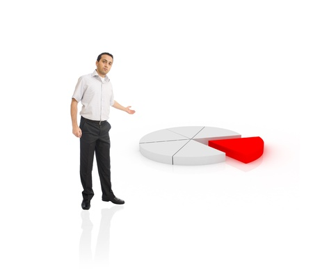 Young businessman showing pie chart Stock Photo - 8464982