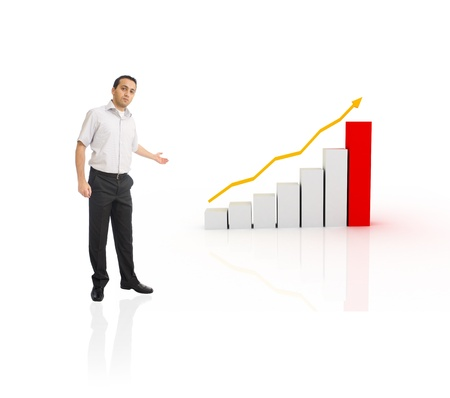 Young businessman showing chart