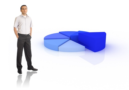 Young businessman showing pie chart Stock Photo