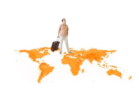 Young man travels around the world