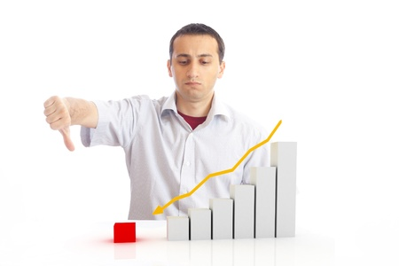 a young man with a falling chart