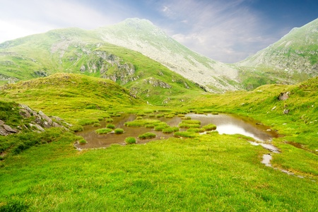 Beautiful landscape high in the mountains Stock Photo