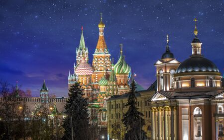 The Cathedral of Vasily the Blessed known as Saint Basil's Cathedral, is a Russian Orthodox church in Red Square in Moscow, Russia. Beautiful blue star night view