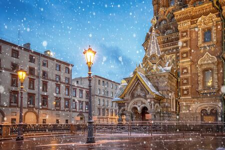 View of famous church of Savior on Spilled Blood (Resurrection of Christ cathedral) and Griboedov Canal at frosty snow winter morning day, Saint Petersburg, Russia. Christmas mood Reklamní fotografie
