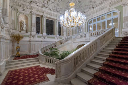Saint Petersburg, RUSSIA - November 20, 2019: Main staircase of Yusupov palace on Moika. It was erected in XVIII century, and now it acclaimed as Encyclopedia of St. Petersburg aristocratic interior