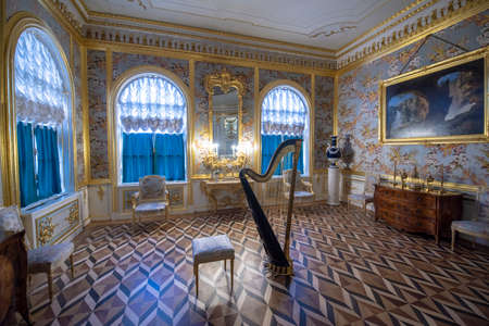 Saint Petersburg, RUSSIA - January 20, 2020: Inside interior of Yusupov palace on Moika. It was erected in XVIII century, and now it acclaimed as Encyclopedia of St. Petersburg aristocratic interior