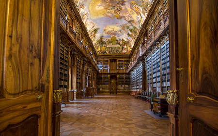 Prague, Czech Republic - January 11, 2020: Interior of one of the most beautiful library in the world - Library of Strahov Monastery (Strahovsky Klaster) in Prague , Czech Republic