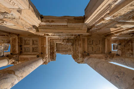 Library of Celsus and sculpture in the ancient city of Ephesus, Selcuk Izmir, Turkey.