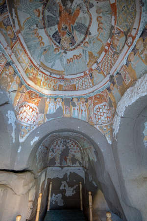 Cappadocia, Turkey - 10 November, 2019: Inside The cave church Agacalti church in Ihlara Valley near Aksaray. The Monastery is one of the largest religious buildings. Cave formations
