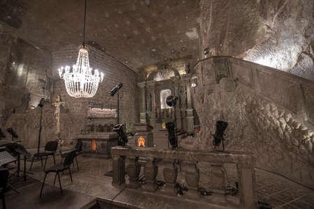 WIELICZKA, POLAND - 01 april 2019: Inside Wieliczka Salt Mine museum - one of the world's oldest salt mines and UNESCO heritage. near to Krakow city.