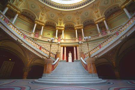 Bucharest, Romania - June 19, 2019: Interior and ceiling of the cozy and impressive concert hall in Romanian Athenaeum (Ateneul Roman or Romanian Opera House) in Bucuresti. Editorial