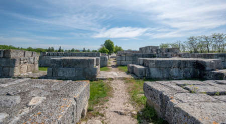 Pliska, Bulgaria - 09.05.2020: The Ruins of Pliska the medieval capital city of the First Bulgarian Empire.