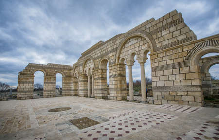 Pliska, Bulgaria and the Ruins of The Great Basilica - largest Christian cathedral in medieval Europe near The capital city of the First Bulgarian Empire Foto de archivo