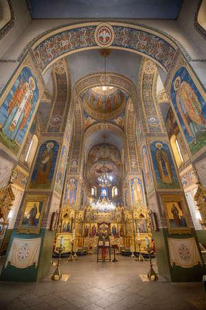 Shipka, Bulgaria - 05 January, 2019: Interior of Memorial Temple of the Birth of Christ, Russian Style Church Cathedral ( Monastery Nativity ) near the soviet communist monument Buzludzha
