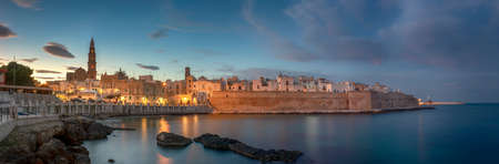 Sunset panorama of Monopoli harbor in the Metropolitan City of Bari and region of Apulia (Puglia), Italy and beautiful illuminated cathedral Basilica Concattedrale Maria Santissima della Madia.