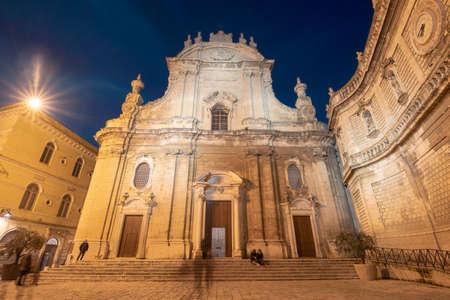 Cathedral Maria Santissima della Madia (Basilica Cattedrale Maria Santissima della Madia) in old town Monopoli, Puglia, Italy at night . Region of Apulia