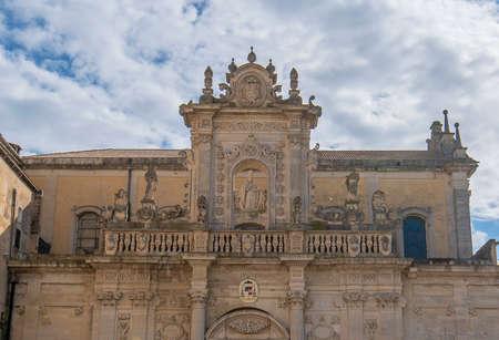 Piazza del Duomo square , Virgin Mary Cathedral ( Basilica di Santa Maria Assunta in Cielo ) , Caritas Diocesana in Lecce - Puglia, Italy. Baroque city of Apulia Archivio Fotografico
