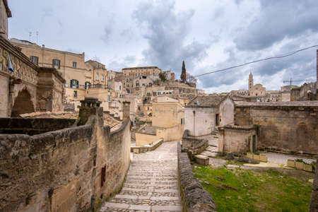 Matera, Basilicata, Puglia, Italy - City view of old town - Sassi di Matera in the region of Basilicata,  in Puglia, Italy. Capital culture 2019 Banco de Imagens