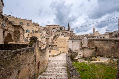 Matera, Basilicata, Puglia, Italy - City view of old town - Sassi di Matera in the region of Basilicata, in Puglia, Italy. Capital culture 2019