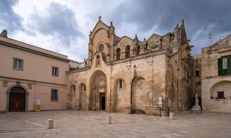 Matera, Basilicata, Puglia, Italy - The Romanesque Parrocchia di San Giovanni Battista Parish church (chiesa). Saint John the Baptist. UNESCO World Heritage Site and capital culture. 15.02.2019