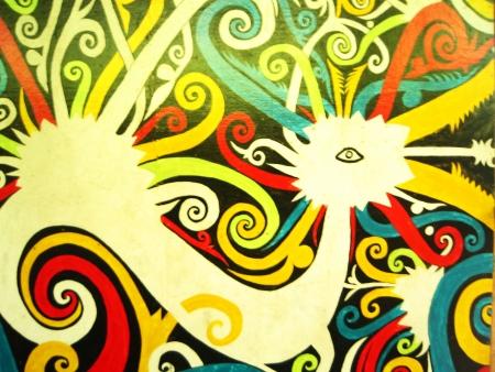 mitzrah: Native Malaysian Aboriginal Art (Bird Motif) Stock Photo