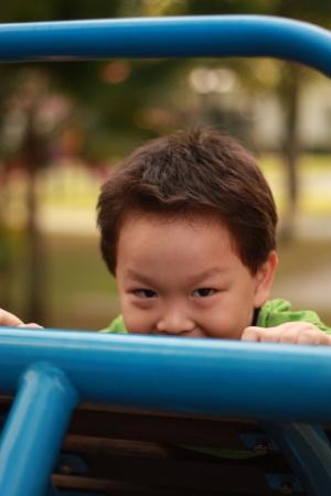 Boy playing peekaboo in a park.