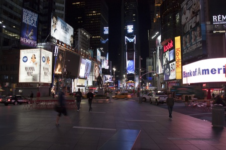 October 2010 - A Deserted Timessquare, New York, USA at Night Stock Photo - 8422616