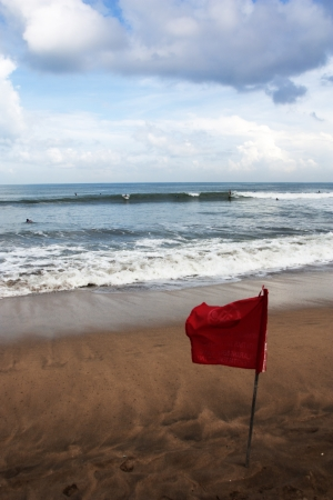 Red Flag at a Beach in Bali - For Surfing Only Stock Photo